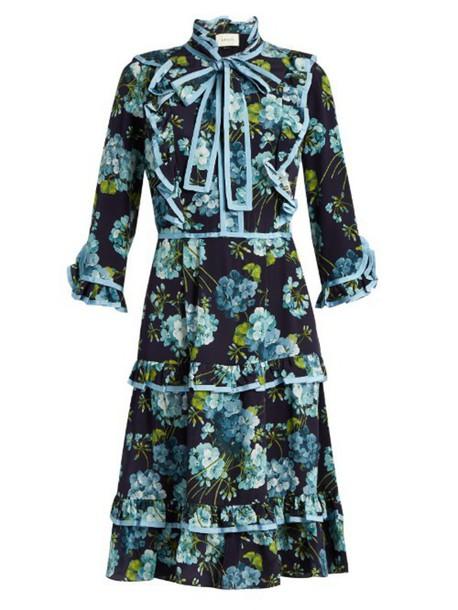 GUCCI Blooms-print crepe de Chine dress in blue / multi