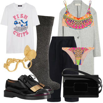aztec blogger black shoes the fashion guitar white t-shirt bikini winter coat