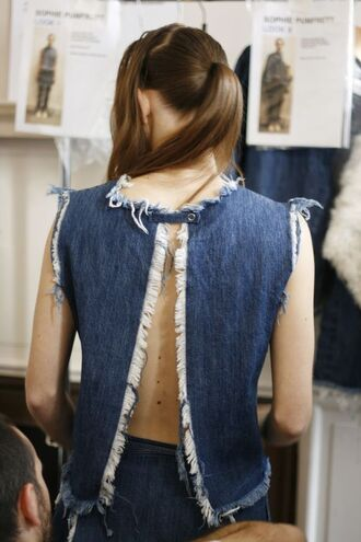 top frayed top denim top blue top open back open back top hairstyles denim