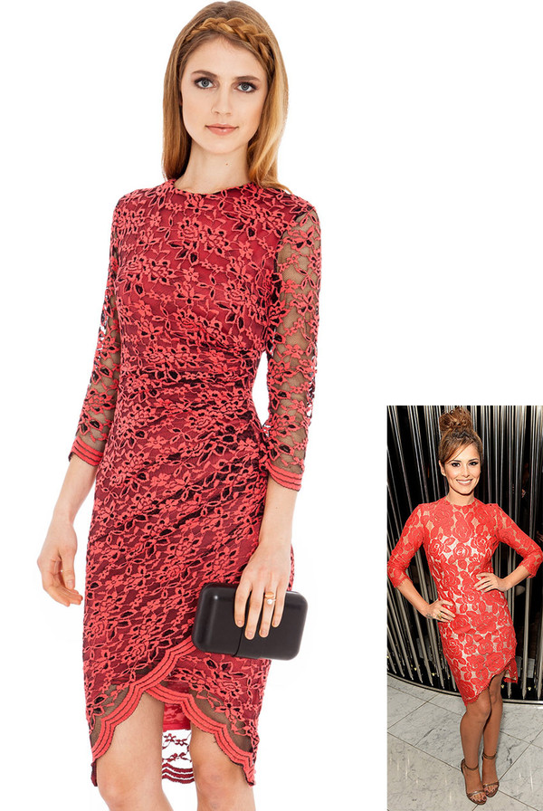 dress celebrity cheryl cole lace floral ruched nude coral cream