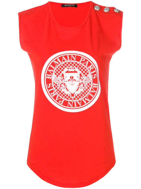 Balmain tank top top women cotton red