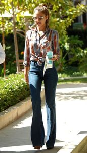 top,bell bottoms,bell bottoms jeans,70s style,oversized sunglasses,jessica alba,tie die shirt