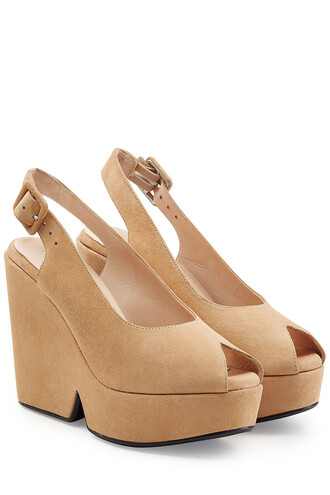 wedges suede camel shoes