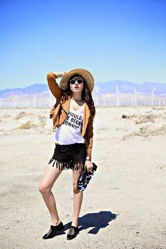 natalie off duty t-shirt jacket shorts hat shoes
