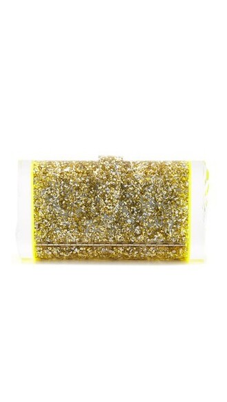 clutch gold silver yellow bag