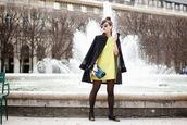 meet me in paree,blogger,lime,shift dress,60s style,black coat,dress,coat,shoes,bag,sunglasses