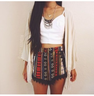 shorts tribal pattern boho coachella bohemian summer lace lace detailing black lace cardigan top jewels