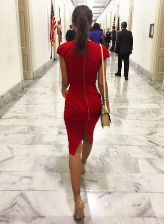 dress red dress emily ratajkowski instagram midi dress sandals short sleeve