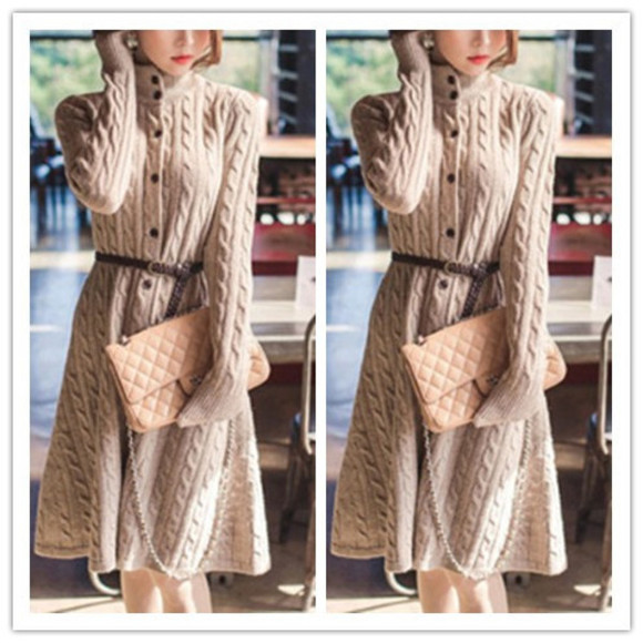 long sleeves cardigan women trendy korean style single breasted sweater dress high collar