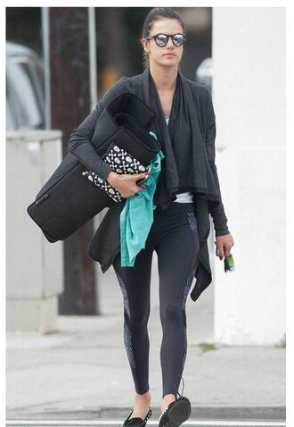 cardigan leggings alessandra ambrosio sunglasses purse skull bag