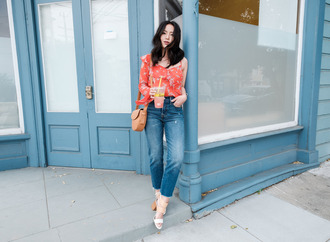 the fancy pants report blogger blouse jeans shoes bag shoulder bag sandals summer outfits