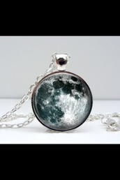 jewels,necklace,planets,moon,moon necklace,jewelry,round,style
