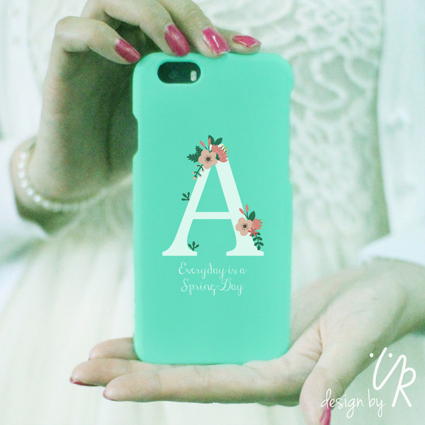 phone cover iphone 6 cover mint personalized phone case initial