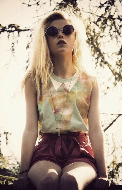 shirt cute galaxy print green love shorts hipster blonde hair cross burgundy colorful vintage chic pale pretty galaxy top galaxy print collar peter pan collar glasses sunglasses hipster multicolor beautiful stylish girly outfit sleeveless t-shirt sweater top galaxies pastel triangles pastel grunge round sunglasses blouse top yellow