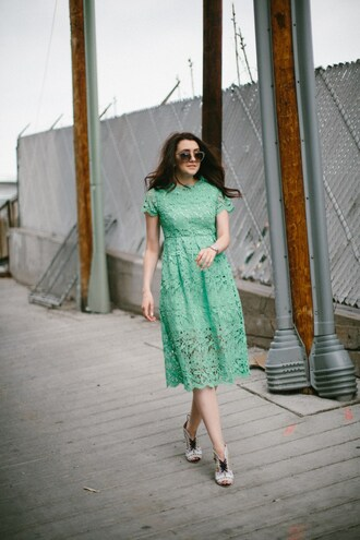 themiddlecloset blogger dress shoes sunglasses green dress lace dress midi dress spring outfits spring dress