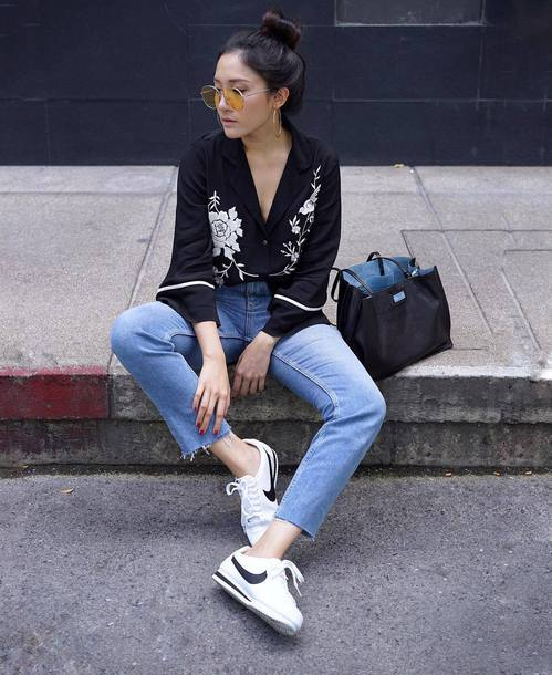 low priced f3e41 7c673 shoes black shirt sunglasses tumblr nike nike shoes nike cortez low top  sneakers sneakers denim jeans
