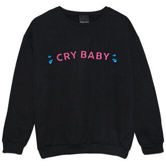 sweater crybaby melanie martinez black blue printed sweater