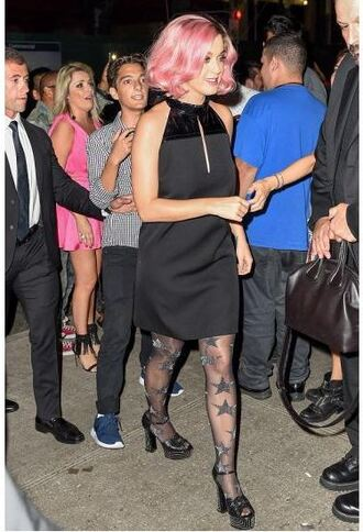 dress little black dress mini dress katy perry platform sandals tights stars shoes