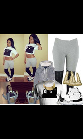 pants,leather,grey sweatpants,tights,cute,half and half,india westbrooks,india love,happily grey,gray spandex,everyday,shirt