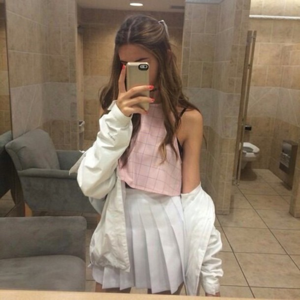 blouse, pink, skirt, top, tumblr outfit, shirt, cute ...