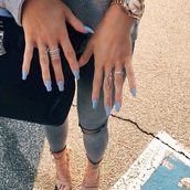 ripped,nail polish,ring,grey jeans,shoes,nail accessories,jewels,kendall jenner xx,jeans,kylie jenner,ripped jeans,tight,ankle strap heels,jeggings,cropped pants,cropped jeans,rings and tings,kylie jenner jewelry