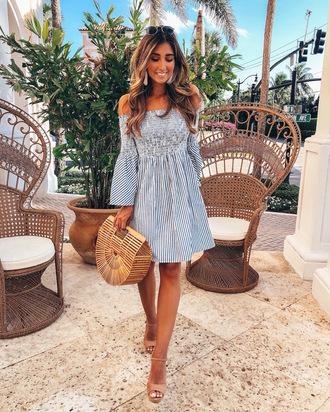 bag dress stripes off the shoulder dress sandal heels sandals nude shoes earrings