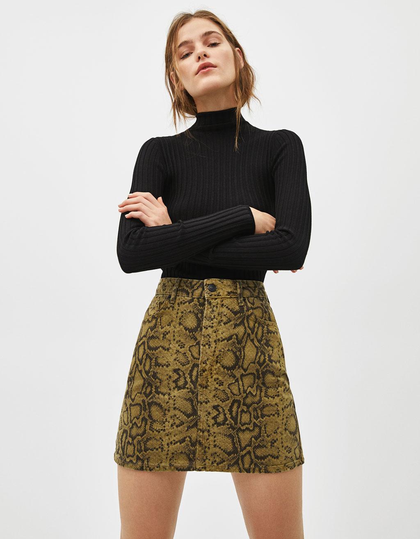Snakeskin print denim skirt - Mini - Bershka Kosovo