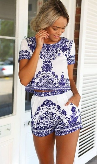 shorts white blue classy paisle floral patterned matching shorts and top