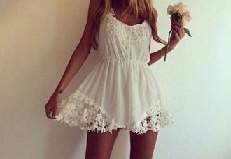 dress crochet white lace romper