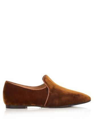 loafers velvet camel shoes