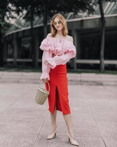 skirt,tumbr,ruffled top,midi skirt,slit skirt,red skirt,bodycon,pencil skirt,front slit skirt,pumps,pointed toe pumps,blouse,pink blouse,ruffle,off the shoulder,off the shoulder top,bag,basket bag,spring outfits
