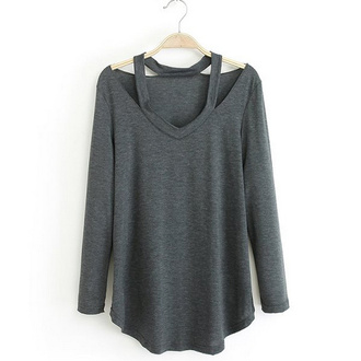 top grey top blouse cut out top