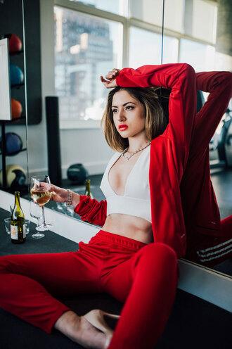 fashionismyforte blogger top shoes jewels crop tops heels high heel pumps red pants red jacket pants jacket