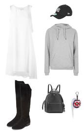 dress,white dress,grey,grey sweater,cap,black cap,new era hat,boots,fendi,asymmetrical,asymmetrical dress