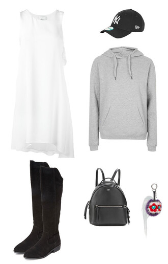 dress white dress grey grey sweater cap black cap new era hat boots fendi asymmetrical asymmetrical dress