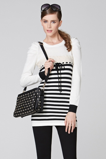Puff Sleeves Stripe Contrast Sweater [FKBJ10363]- US$ 44.99 - PersunMall.com
