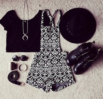 jeans black and white dungaree asteque cool moon necklace moon necklace aztec print romper jumpsuit