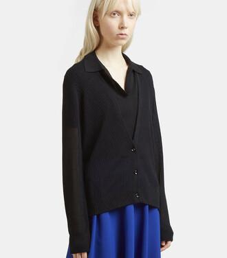 cardigan sheer knit black sweater