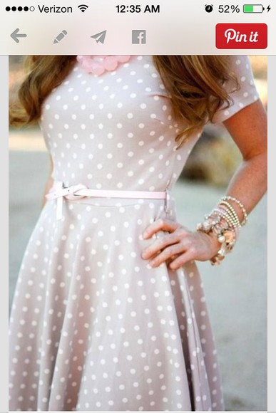 grey/tan white dots fitted on waist mid sleeve dress polka dots clothes blogger pearl cute dress grey dress grey dot dress