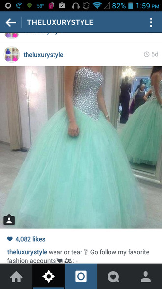 prom mint princess dress