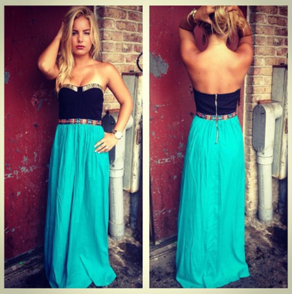 long dress turquoise bustier