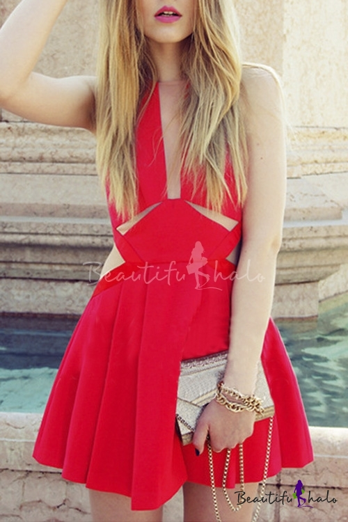 Sheer Round Neck Cut Out Design Sleeveless A-Line Pleat Mini Chic Dress