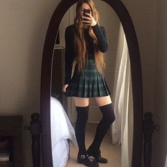 shirt plaid skirt green fashion