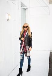 angel food,blogger,shoes,sunglasses,tartan scarf,leather jacket,ripped jeans,black boots,winter outfits,top,jacket,jeans,scarf,bag