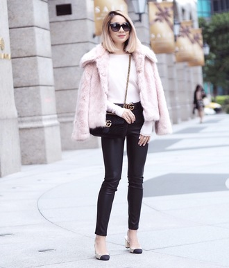 laminlouboutins blogger jacket sweater pants shoes bag belt fur jacket pink fur jacket faux fur jacket gucci bag crossbody bag gucci gucci belt black pants winter outfits fall outfits chanel slingbacks