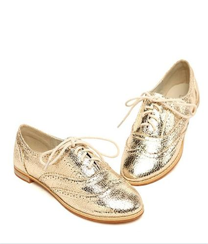 Modern & Fashionable Tieback Low-heeled Shoes----Gold_New Arrivals_Wholesale shoes,kvoll shoes,china shoes wholesale,cheap shoes tagged at Kvoll-Shoes