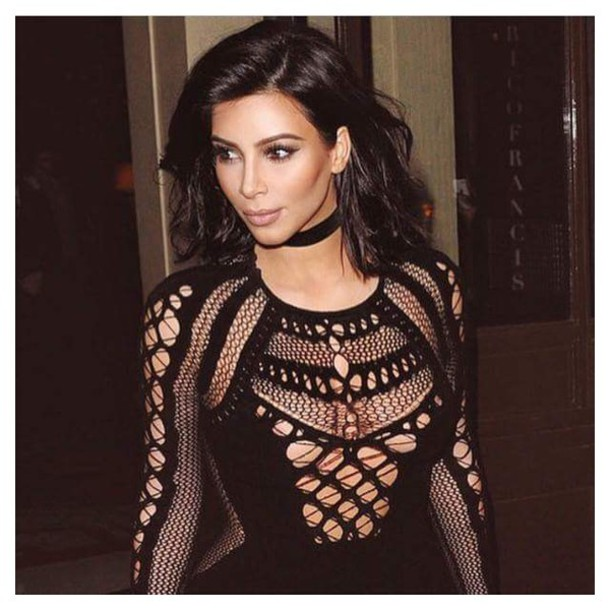 Dress Top Kim Kardashian Jewels Necklace Jewelry Black Choker