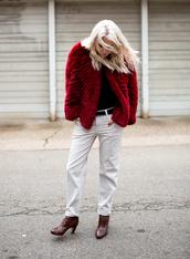 always judging,blogger,red coat,burgundy,faux fur jacket,brown leather boots,boyfriend jeans,jacket,belt,shoes,bag,all red wishlist