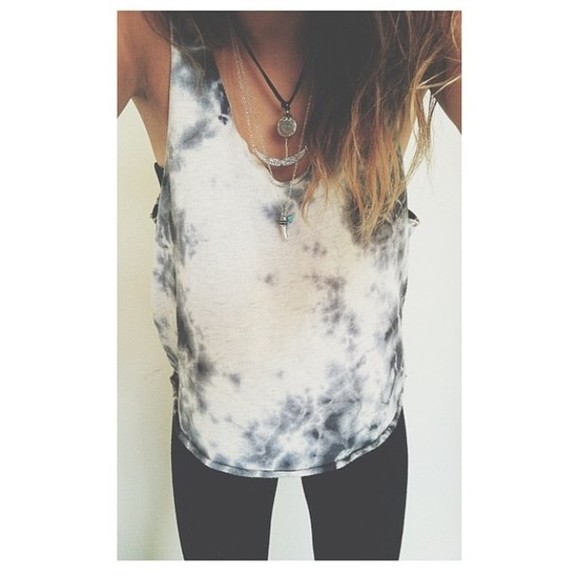 tie dye ombre dip dyed cute indie tank top acid wash alternative blogger bohemian boho denim flowers girly grunge hippie hipster instagram tumblr kawaii summer jewels