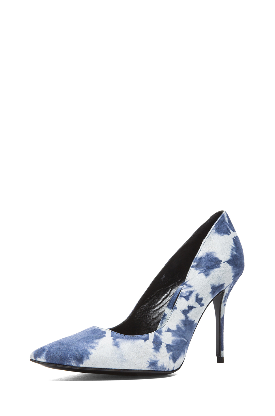 elysewalker los angeles | Sable Tie Dye Satik Suede Pumps in Denim & White